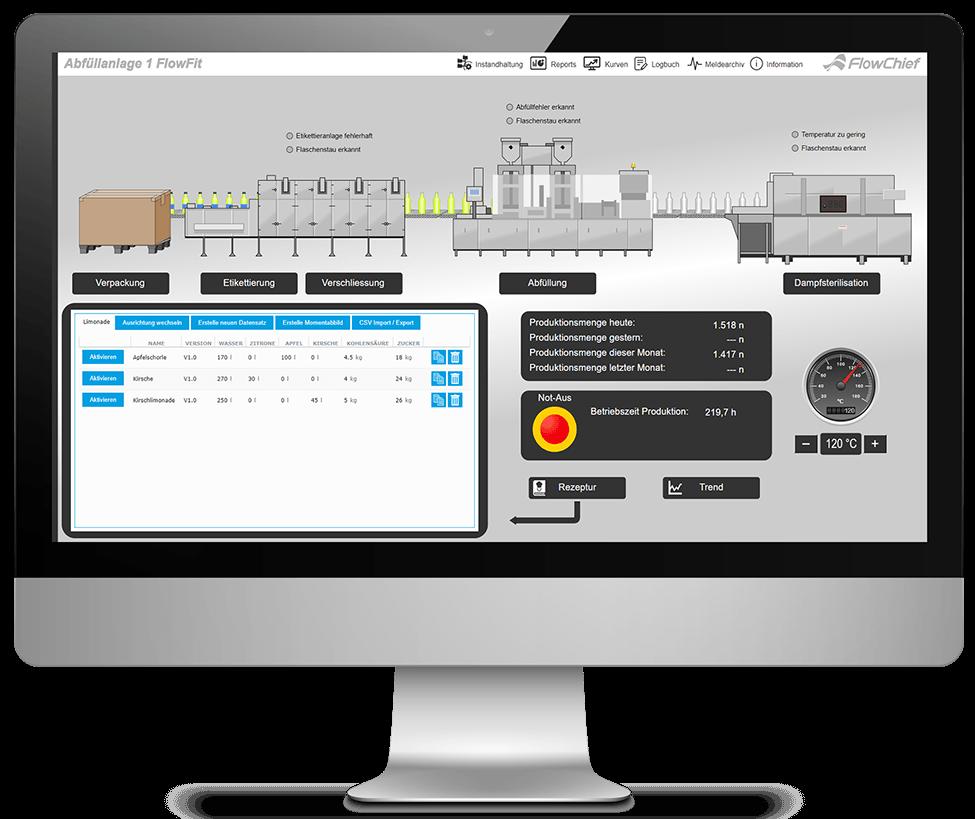 iMac mit Screenshot Flaschenabfüllung und Rezepturanwahl