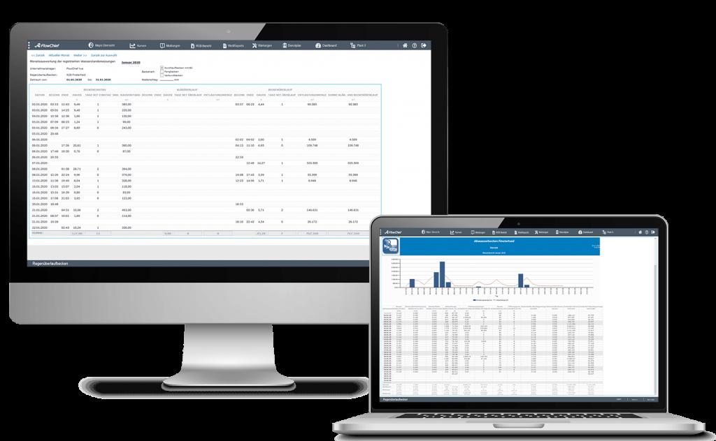 Desktop mit RÜB-Ereignissprotokoll und Notebook mit RÜB-Bericht