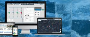 Monitor mit Illustrationen von Wassersteuerungen